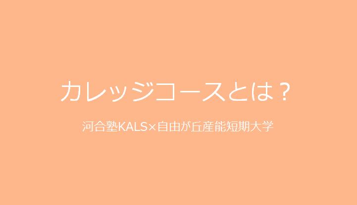 河合塾KALSカレッジコースとは?