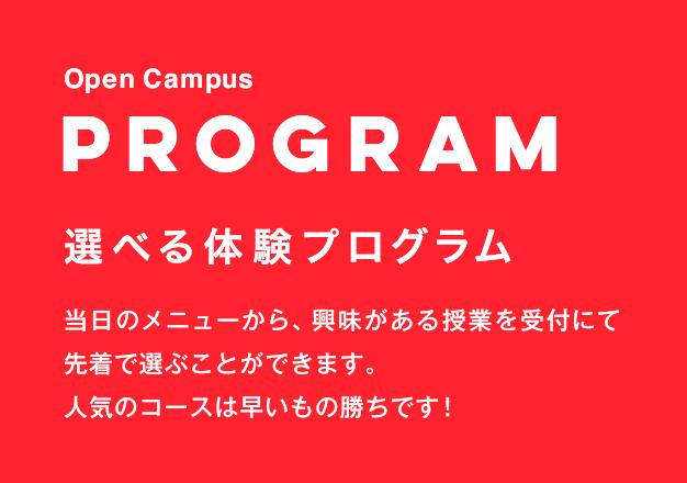 PROGRAM 選べる体験プログラム